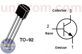 Distribución de pines y encapsulado del transistor NPN 2N2222