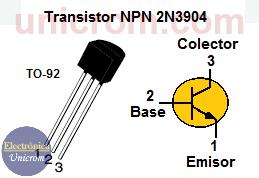 Configuración de patillas del Transistor NPN 2N3904