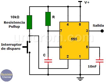 Configuración multivibrador monoestable con 555 - Electrónica Unicrom