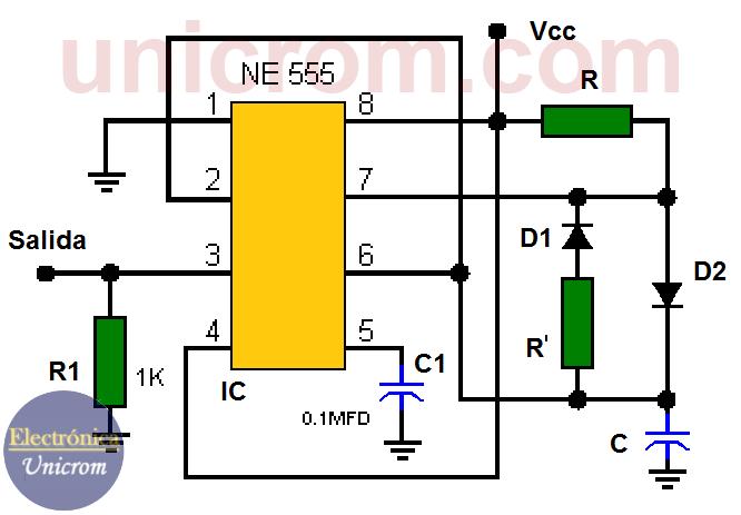 Multivibrador astable con t1 = t2 usando un 555
