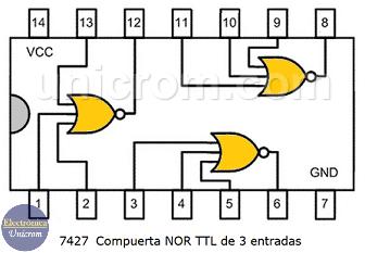 Circuito integrado TTL 7427 - 3 compuertas NOR de 3 entradas