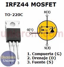 Configuración de patillas (pines) del MOSFET IRFZ44