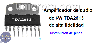 Amplificador de audio de 6 watts TDA2613
