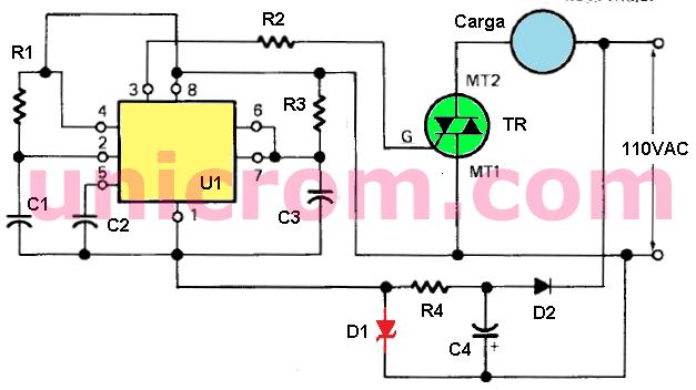 Activación retardada de carga en AC con 555