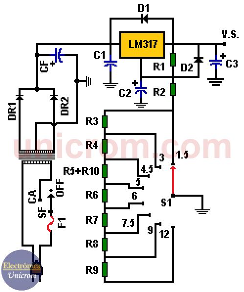 Fuente de voltaje universal con LM317