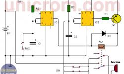 Alarma para automóvil con dos 555 (circuito)