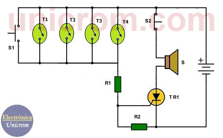 Alarma contra incendio con termostatos y SCR