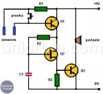 Alarma de nivel de agua con tres transistores