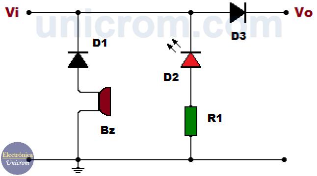 Circuito de alarma de polaridad invertida