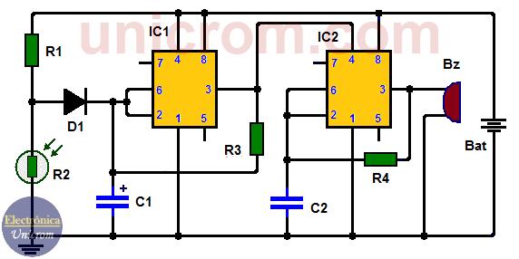 Alarma para puerta de refrigeradora con dos 555 y LDR