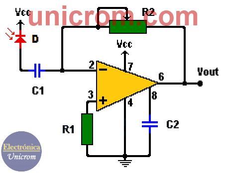 Amplificador para fotodiodo / Convertidor corriente a voltaje
