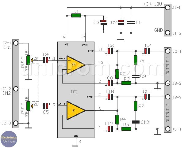 Amplificador Estéreo con TDA2005 (4 - 8 watts)