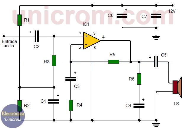 Amplificador de audio 12W con TDA2040 para automóvil