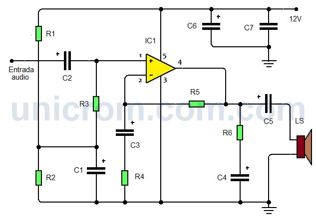 Amplificador de audio con TDA2040 para automóvil
