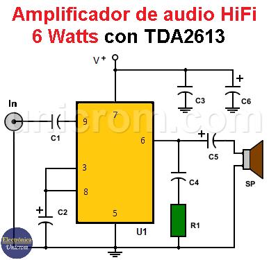 Amplificador de 6 watts con TDA2613