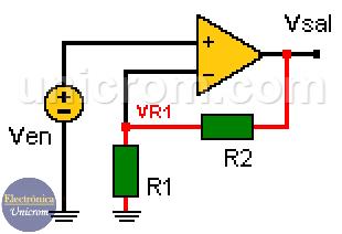 Ganancia de voltaje en un amplificador operacional no inversor - Electrónica Unicrom