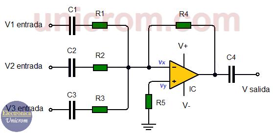 Amplificador sumador con amplificadores operacionales en corriente alterna (CA)