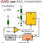 Convertidor Analógico Digital (CAD) con DAC, comparador, contador y 555