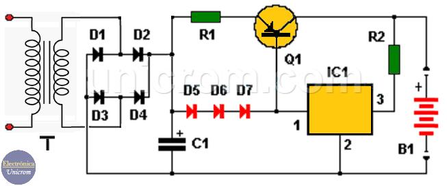 Circuito de cargador de batería de 12 voltios para auto con LM7815