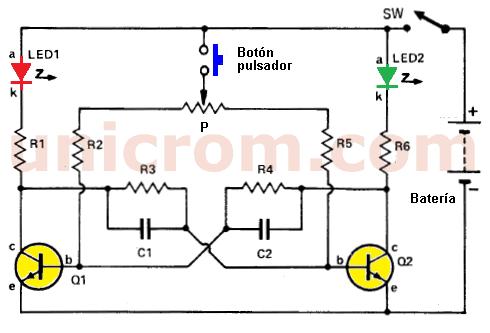 Juego cara o cruz con transistores y LEDs