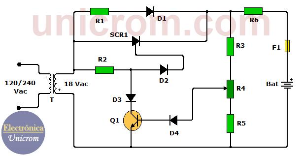 Cargador batería 12V con SCR