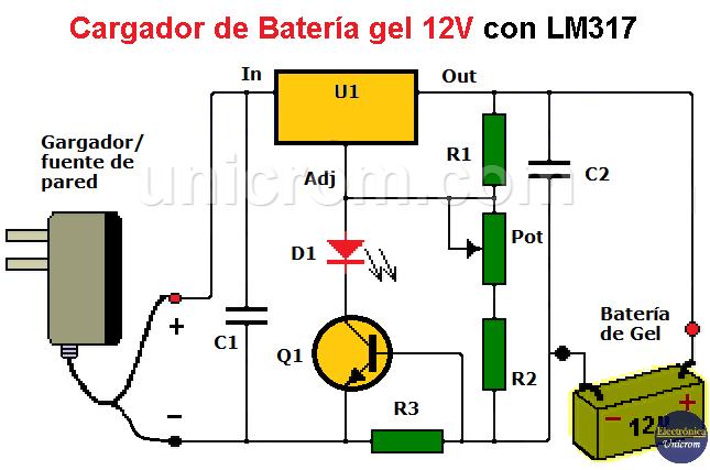 Cargador de Batería gel 12V con LM317