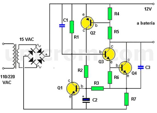 Cargador de batería con apagado automático y limitador de corriente