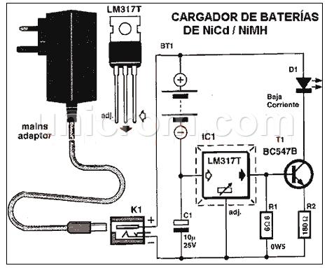 Cargador de baterías NiCd y NiMH