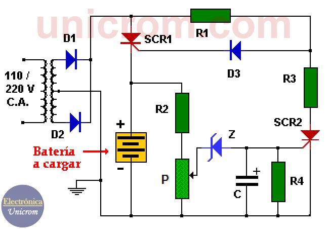 Cargador de batería con desconexión automática con scr y zener