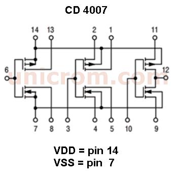 Configuración interna del circuto integrado CD4007