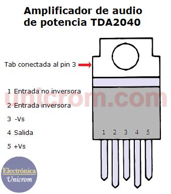 Amplificador de audio de potencia TDA2040 (distribución de pines)