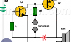 Circuito detector de mentiras con dos transistores