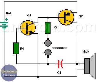 Detector de mentiras con dos transistores