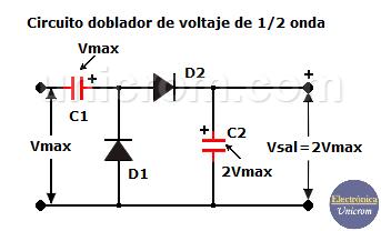 Duplicador / doblador de voltaje de media onda