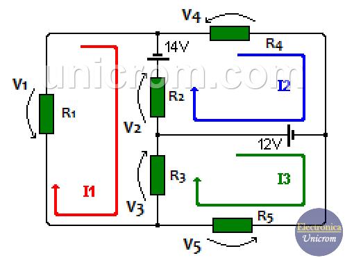 Ejemplo de análisis de mallas en circuito resistivo