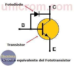 Circuito equivalente del fototransistor