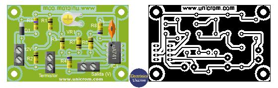 Estimado del circuito final y Circuito impreso (PCB) del convertidor temperatura a voltaje con termistor