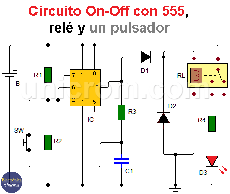 Circuito On-Off con temporizador 555 y un pulsador