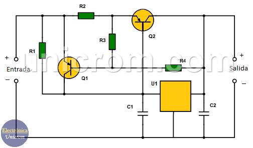 Como incrementar la corriente de un 7805 hasta 3 amperios