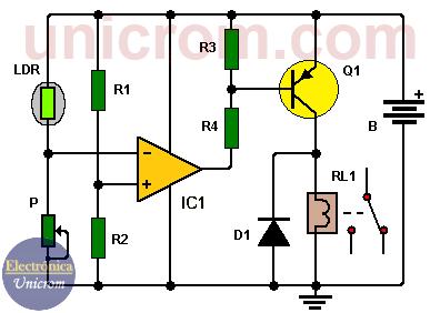 Conmutador activado por luz