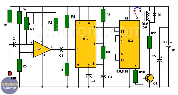 Control electrónico por sonido (aplauso) - Circuito electrónico para el control de cargas activado por sonido
