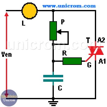 Control de iluminación (control por fase) de un Triac - Control de potencia en AC