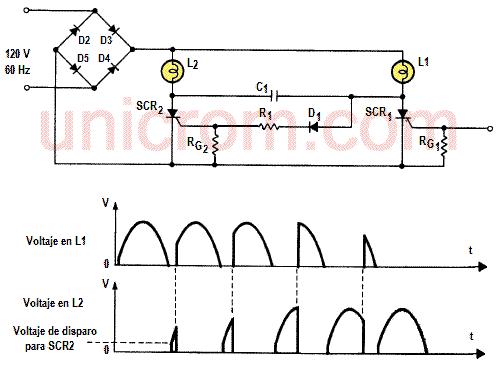 Control de luces complementarias con 2 SCR