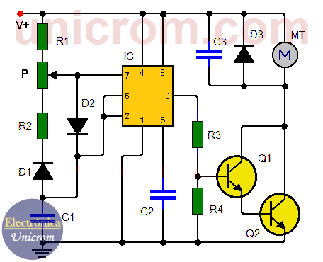 Control de motor DC con 555