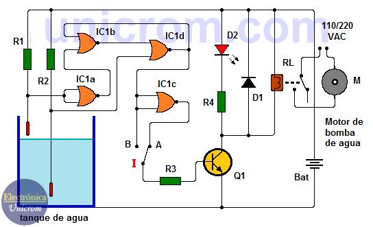 Control de nivel de agua con 4001 (compuertas NOR de 2 entradas)