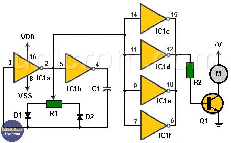 Control velocidad de motor DC con 4049