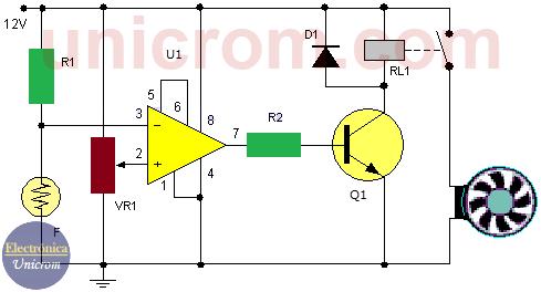 Control de temperatura con comparador y ventilador de 12 voltios
