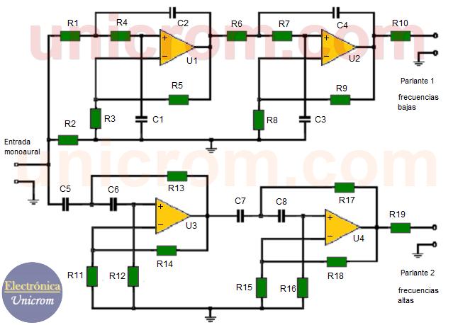 Convertidor de audio de mono a estéreo con amplificadores operacionales