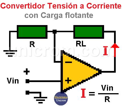 Convertidor tensión a corriente con carga flotante