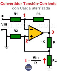 Convertidor tensión a corriente con carga aterrizada
